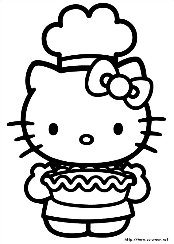 Hello Kitty Baking Coloring Pages : Dibujos para colorear de hello kitty